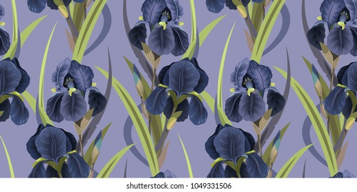 Seamless floral pattern with irises. Violet irises on a lilac background. Vector illustration. Background for textile, manufacturing, book covers, wallpapers, print or gift wrap. Vector illustration.