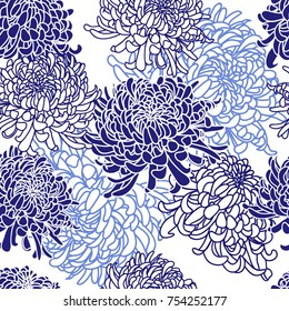 Seamless floral pattern with Japanese curly chrysanthemum flower