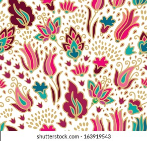 Seamless floral pattern, kalamkari style