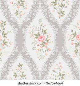 seamless floral pattern with lace and  floral bouquet with roses