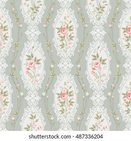 seamless floral pattern with lace and rose borders