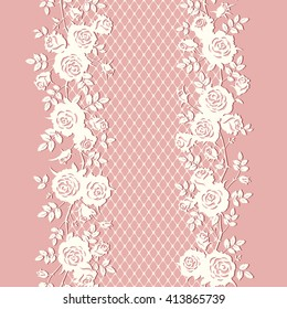 Seamless floral pattern. Lace texture with roses and leaves. Vector pink background.