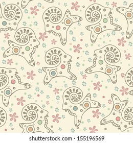 seamless floral pattern with lambs