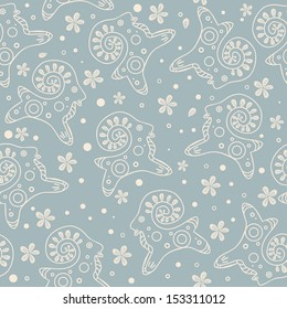 Seamless floral pattern with lambs on blue background
