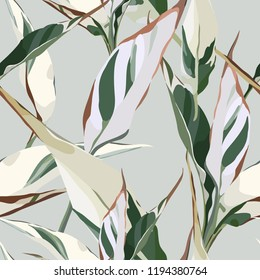 Seamless floral pattern with leaves, watercolor. Vector illustration.