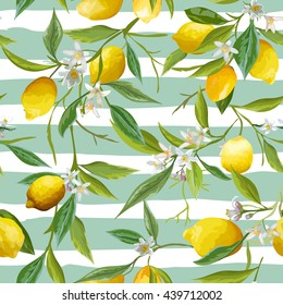 Seamless Floral Pattern. Lemon Fruits Background. Vector