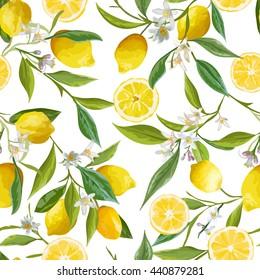 Seamless Floral Pattern. Lemon Fruits Background. Flowers, Leaves, Lemons. Vector