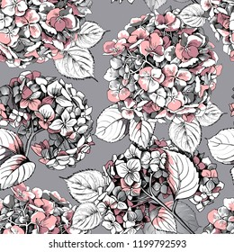 Seamless floral pattern. Light pink Hydrangea flowers and leaves on a gray background. Textile composition, hand drawn style print. Vector illustration.