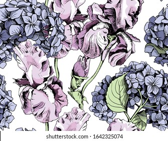 Seamless floral pattern. Lilac Iris, blue  Hydrangea flowers and buds. Textile composition, hand drawn style print. Vector illustration.