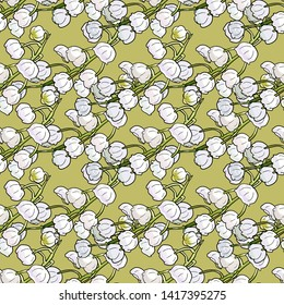 Seamless floral pattern with lily of the valley on green background. Botanical endless texture with may-lily flowers. Wall decal decor. Walpaper design. Vector illustration