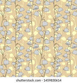 Seamless floral pattern of Lily of the valley flowers.Contour drawing of Lily of the valley branches.silhouettes of lilies of the valley.For decor and design of fabric, paper, packaging, Wallpaper.
