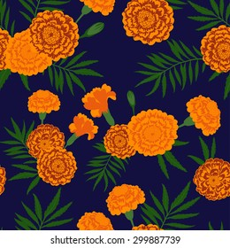 Seamless floral pattern. Marigold flowers. Swatch is included.