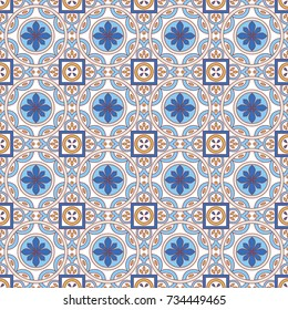 Seamless floral pattern maroccan style in spring - summer color. Design for textile, cover, background, bandana, patchwork