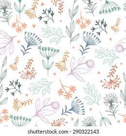 Seamless floral pattern, modern spring floral background.