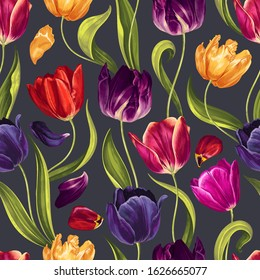 Seamless floral pattern with multi-colored tulip flowers, leaves and petals on a  black background. Hand drawn, high realistic, vector,spring  flowers for fabric, prints, decoration, invitation cards.
