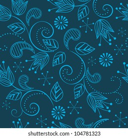Seamless floral pattern on a blue background