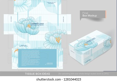 Seamless floral pattern on tissue box, template for business purpose. Place your text and logos and ready to go for print