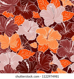 Seamless floral pattern with orange and red hibiscus flowers, watercolor. Vector flower illustration. Seamless pattern with floral motif. Vector illustration.