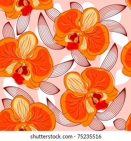 Seamless floral pattern with orchids
