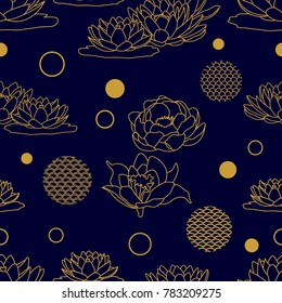 Seamless floral pattern with oriental motifs. Blooming lotuses in the water. Template for textile design, cards and packaging. Golden linear flowers and geometric elements on black background.