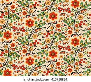 Seamless floral pattern with ornamental flowers in Khokhloma style. Floral design. Traditional russian Hohloma ornament with flowers. Vector illustration