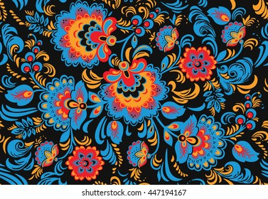 Seamless floral pattern with ornamental flowers in Khokhloma style. Floral design. Traditional russian Hohloma ornament with flowers in bright colors. Vector illustration