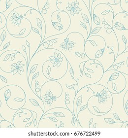 Seamless floral pattern outlined. Perfect background for wedding or party invitation, ad, summer or spring banner, card, placate, advertising poster, or any event such a sale or festival
