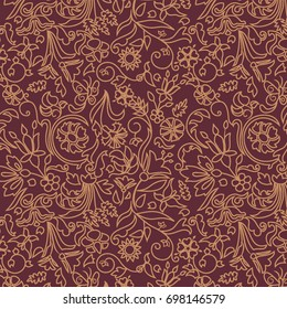 Seamless Floral Pattern with outlines / Gold on Maroon Red Background / Global colors saved with Pattern Swatches