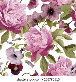 Seamless floral pattern with pansy,  convolvulus and peonies, watercolor. Vector illustration.