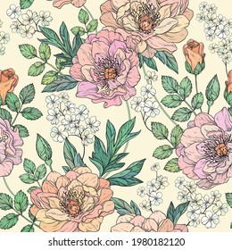 Seamless floral pattern with peony flowers. Vector illustration.
