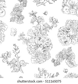 Seamless floral pattern with peony and raspberries, black line on white. Hand drawn illustration for fabric, wrapping, prints and other design in vintage style