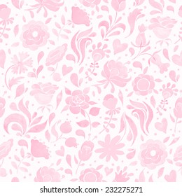 Seamless floral pattern with pink flowers and hearts. Vintage ornament. Watercolor illustration. Vector format.
