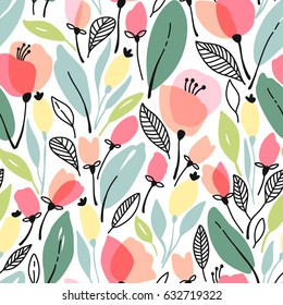 Seamless floral pattern with pink flowers and leaves. Vector illustration