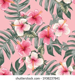 Seamless floral pattern pink Hibiscus flowers on isolated dark pink pastel background.Vector illustration watercolor hand drawning.For fabric print design texture