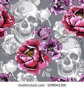 Seamless floral pattern. Pink Peony,  Violet Tulips flowers and skulls on a monochrome gray background. Vector illustration.