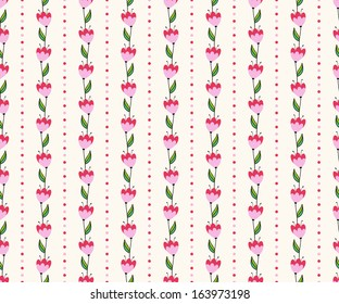 Seamless floral pattern with pink tiny flowers in rows. Can be used for wallpaper, pattern fills, web page background,surface textures
