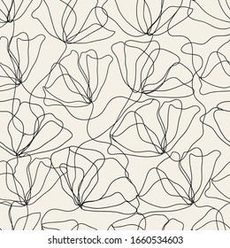 Seamless floral pattern with poppies. One line style hand drawn vector illustration.