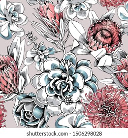 Seamless floral pattern. Protea flowers and succulents. Textile composition, hand drawn style print. Vector illustration.