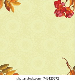 Seamless floral pattern with Red berries and branches leaver on colorful background Vector Illustration EPS8