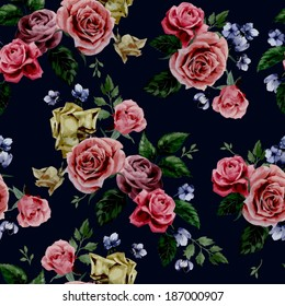 Seamless floral pattern with of red, purple and pink roses on black background, watercolor. Vector illustration.