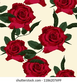 Seamless floral pattern with red roses on beige background. Vector illustration.
