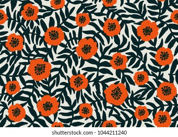 Seamless Floral Pattern. retro style Red poppies pattern with poppy flowers and dark green foliage on beige. Floral seamless background for textile, fabric, covers, wallpapers, print, gift wrap Vector