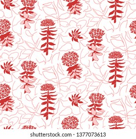 Seamless floral pattern with Rhodiola Rosea flowers. Suitable for backgrounds, prints, textiles, petals, websites.