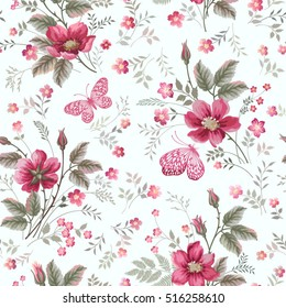 seamless floral pattern with rose bouquet