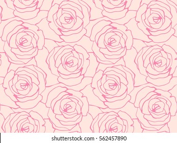 Seamless floral pattern with roses. Vector background with hand drawn roses.