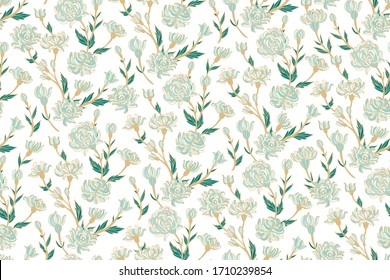 Seamless floral pattern with stylized chinese chrysanthemum flowers on white background