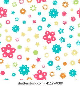 Seamless floral pattern with summer colored flowers on a white background