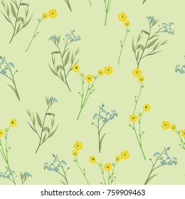 Seamless floral pattern with summer flowers. Buttercups and forget-me-nots.