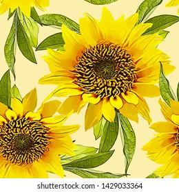 Nahtlose Blumenmuster mit Sonnenblumen. Wasserfarbe. Vektorgrafik