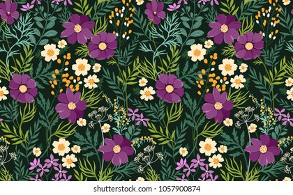 Seamless floral pattern. Surface design made of purple flowers gerbera, leaves and berries. Summer and spring motifs. Trendy floral texture. Dark background. Vector illustration.